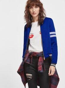Royal Blue Contrast Trim Long Sleeve Baseball Jacket