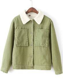 Army Green Button Jacket With Faux Shearling Lining