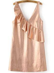 Rose Gold Ruffle V Neck Sleeveless Dress