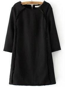 Black Zipper Back Seam A Line Dress