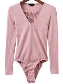 Body escote V con cordón - rosa