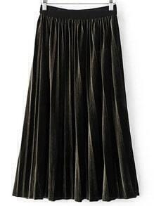 Dark Green Pleated Midi Velvet Skirt