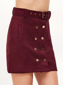 Burgundy Double Breasted Pockets Belted Skirt