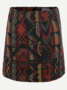 Black Geometric Pattern Zipper Back Bodycon Skirt