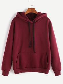 Burgundy Drawstring Hooded Pocket Sweatshirt
