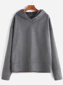 Grey Dropped Shoulder Seam Hooded Sweatshirt