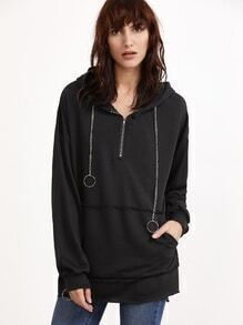 Frayed Trim Zip Ring Accent Chain Drawstring Hooded Sweatshirt