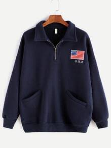 Navy American Flag Print Zip Detail Pocket Sweatshirt