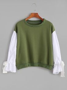 Army Green Contrast Sleeve Self Tie Cuff Sweatshirt