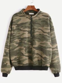 Camo Print Contrast Trim Drop Shoulder Zip Front Sweatshirt