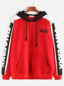 Red Contrast Letter Print Drawstring Hooded Pocket Sweatshirt