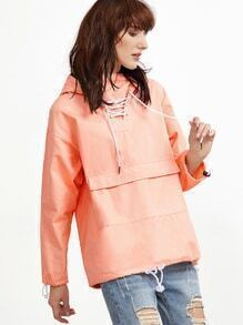 Pink Letter Print Back Lace Up Front Hooded Sweatshirt