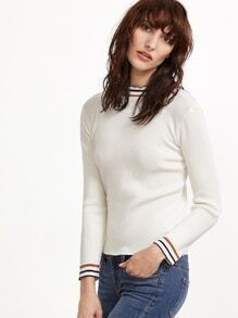 White Contrast Striped Trim Tight Knitwear