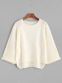 Beige Dip Hem Raglan Sleeve Cuffed Sweater