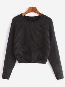 Black Raglan Sleeve Crop Sweater