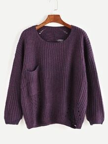Purple Drop Shoulder Hollow Pocket Sweater