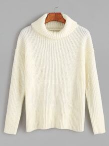 White Turtleneck Ribbed Knit Sweater