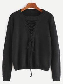 Black Cutout Lace Up Front Sweater
