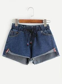 Blue Slit Side Roll Hem Drawstring Waist Denim Shorts