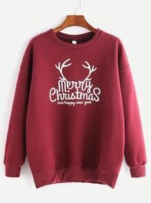 Burgundy Ribbed Trim Christmas Print Sweatshirt