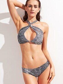 Snake Print Cross Halter Cutout Bikini Set
