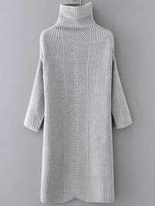 Grey Turtleneck Drop Shoulder Sweater Dress