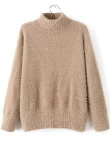 Khaki Mock Neck Loose Sweater