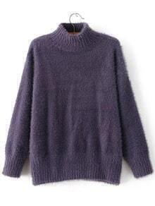 Purple Mock Neck Loose Sweater