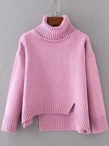 Pink Ribbed Trim Turtleneck Asymmetrical Sweater