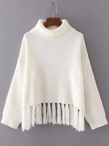 White Turtleneck Drop Shoulder Fringe Hem Sweater