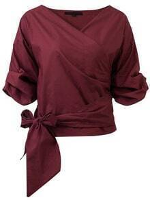 Burgundy Wrap V Neck Blouse With Bow Tie