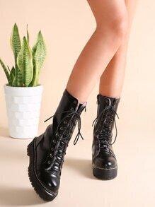 Black PU Leather Fur Lined Platform Tall Boots
