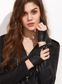 Black Two-finger Faux Leather Stage Gloves