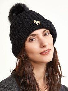 Black Cable Knit Pom Pom Bobble Hat