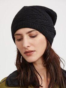 Black Textured Knit Beanie Hat