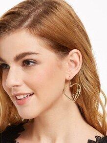 Gold Plated Slogan Heart Shape Drop Earrings