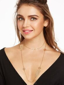 Gold Tone Embellished Double Layer Link Necklace