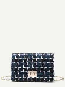 Black Plaid Twistlock Closure Boxy Chain Bag