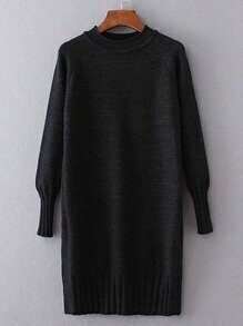 Black Ribbed Trim Long Sweater