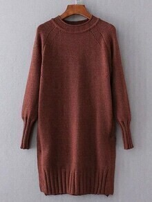 Red Ribbed Trim Long Sweater