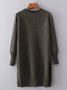Ribbed Trim Long Sweater