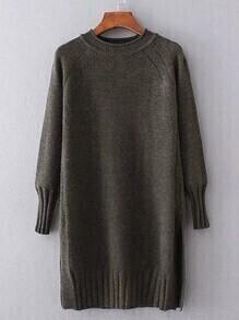 Ribbed Trim Long Sweater