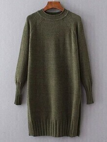 Green Ribbed Trim Long Sweater
