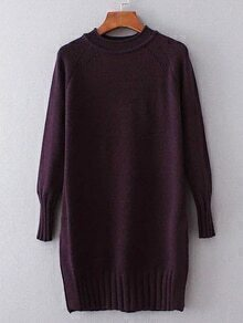 Purple Ribbed Trim Long Sweater