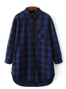 Blue Tartan Plaid High Low Blouse