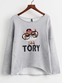 Grey Drop Shoulder Cat Print Sweatershirt