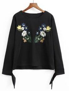 Black Embroidered Tie Sleeve Sweatershirt