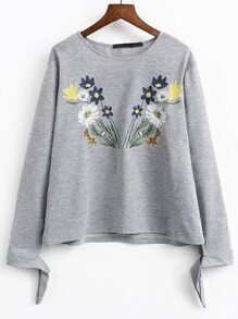 Grey Embroidered Tie Sleeve Sweatershirt