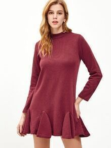 Burgundy Mock Neck Zipper Back Ruffle Hem Shift Dress