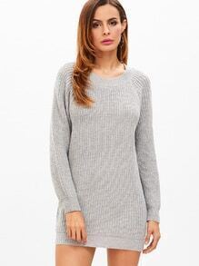 Heather Grey Raglan Sleeve Sweater Dress